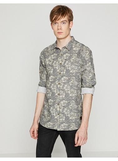 Çiçek Desenli Uzun Kollu Slim Fit Oxford Gömlek-Koton